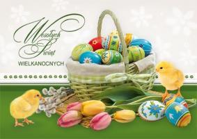 Koszyk z pisankami kartka na Wielkanoc BW 49