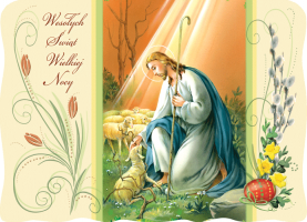 Religijna kartka wielkanocna BRW 01